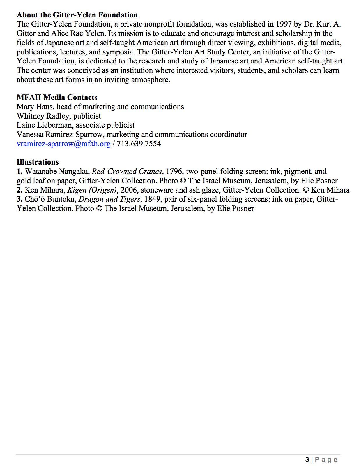 MFAH press release